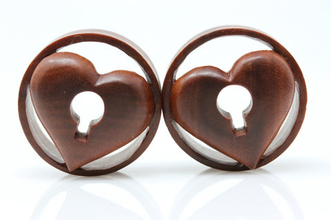 Wooden Locked Heart Plugs (Pair) - PA128