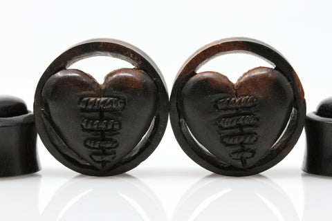 Mending Wood Heart Plugs (Pair) - PA127