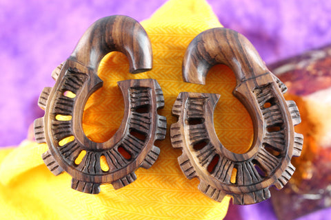 Abstract Lock Hanging Plugs - Wood Plugs (Pair) - D040
