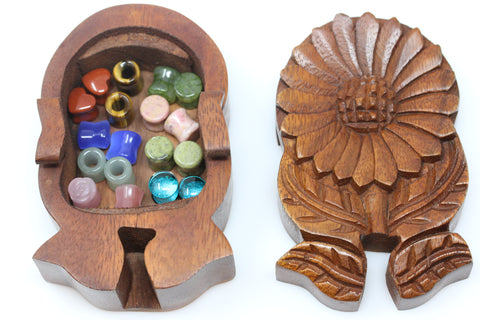 Sunflower Wood Puzzle Box - Plug Gift Box (Plugs not included)