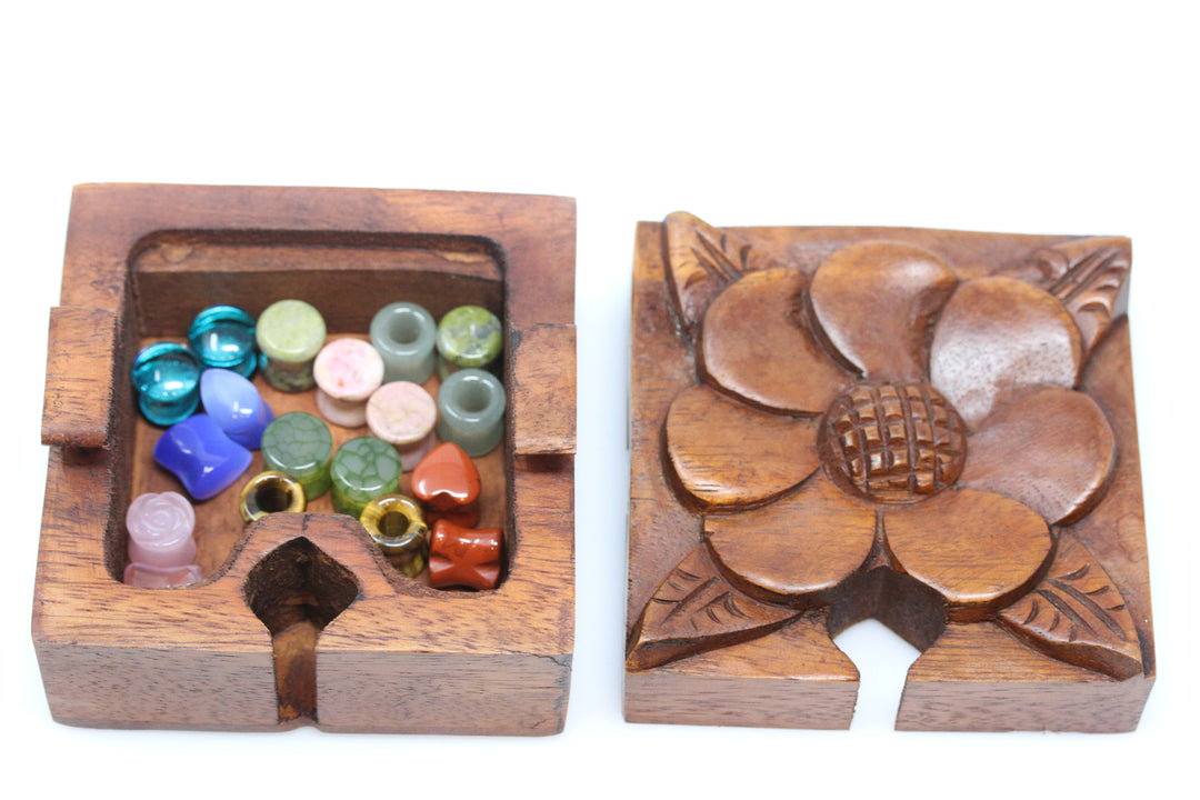 Jasmine Flower Wooden Puzzle Box - Plug Gift Box - (Plugs not included)