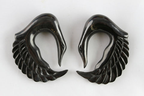 Hand Carved horn swan plugs