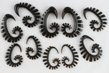 Black Stretched Ear Hanger Earrings (Pair) - B005
