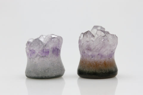 Raw Amethyst Plugs (Pair) - 10mm as pictured - XA105-10