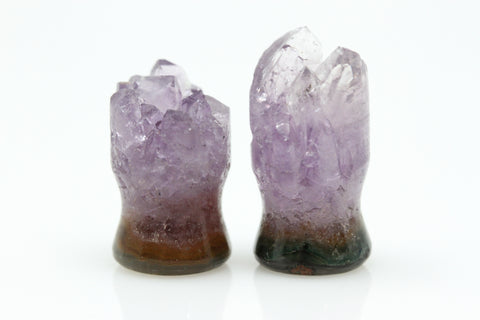 Raw Amethyst Plugs (Pair) - 10mm as pictured - XA114-10