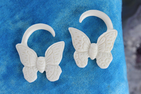 White Butterfly Plugs - For Stretched Ears (Pair) - C057