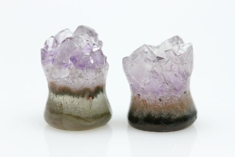 Raw Amethyst Plugs (Pair) - 10mm as pictured - XA121-10