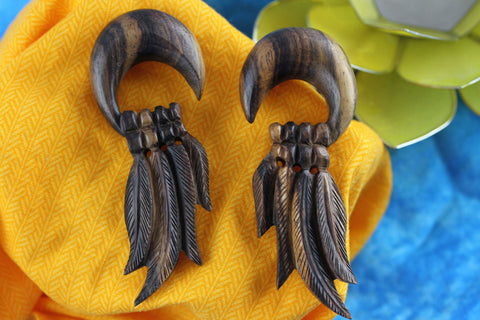 4 Feather Wood Stretched Plug Gauge Earrings