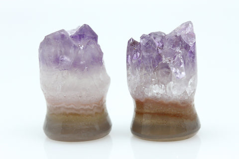Raw Amethyst Plugs (Pair) - 12mm as pictured - XA127-12