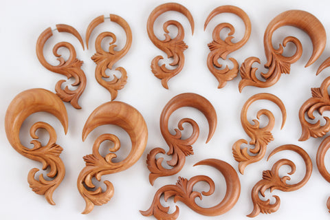Ear Stretch Plug Hangers Carved Wood (Pair) - A021