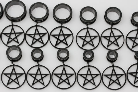 Pentagram Stainless Steel Danglers - Screw on Tunnel (Pair) - TF001