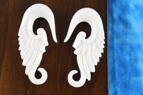 White Wing Plug Stretch Ear Hangers