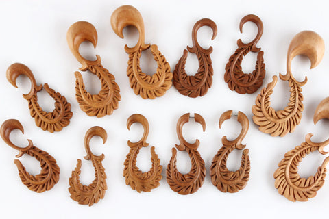 Wood Curved Feather Plug Stretched Ears (Pair) - A026