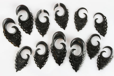 Horn Stretched Plug Earrings (Pair) - B035