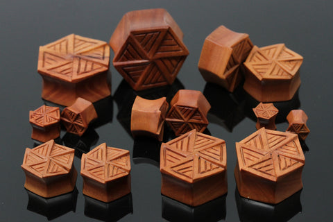 HexaPod Wood Plugs - Hand Carved Hexagon Plugs (Pair) - PA118