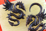 Serpent Dragon Plugs - Carved Wood Hanging Plugs (Pair) - D041