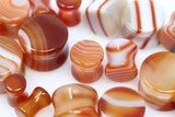 Red Line Agate Plugs - Double Flare (Pair) - PH49