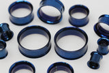 Blue Stainless Steel Tunnels - Screw on Tunnel (Pair) - PSS09