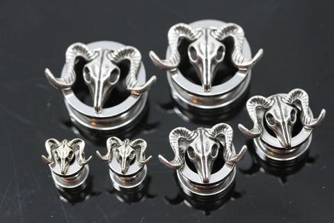 Ram Skull Stainless Steel Tunnels - Screw on Tunnel (Pair) - PSS07