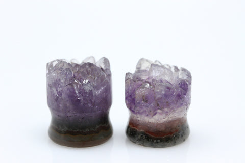 Raw Amethyst Plugs (Pair) - 16mm as pictured - XA189-16