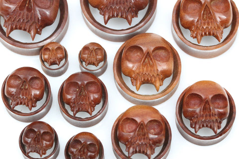 Vampire Skull Tunnels - Carved Sawo Wood Plugs (Pair) - PA94