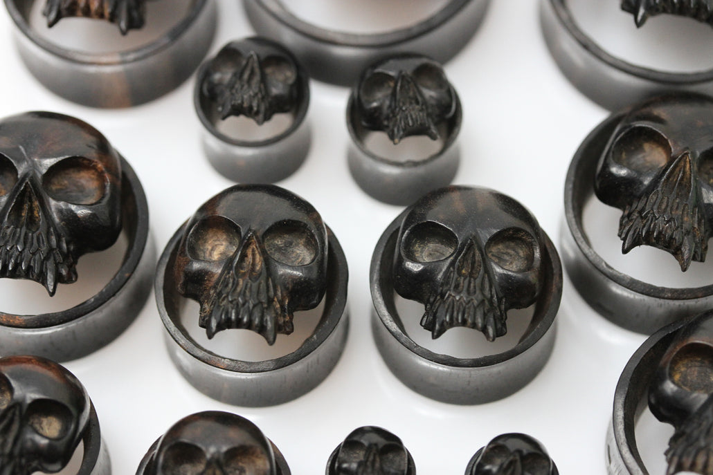 Areng Wood Vampire Skull Tunnels - Carved Areng Wood Plugs (Pair) - PA92