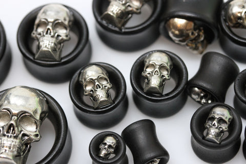 Silver Skull Wood Tunnels - (Pair) - PSS10