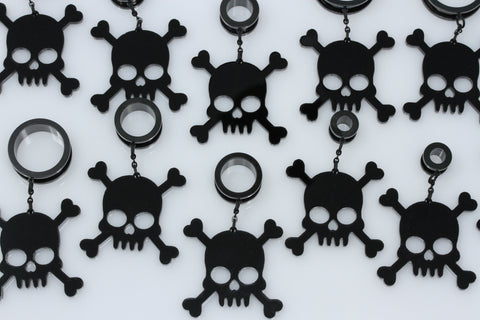 Black Skull Stainless Steel Danglers - Screw on Tunnel (Pair) - TF004