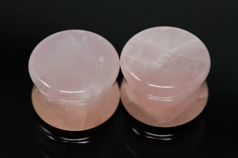 Rose Quartz Stone Plugs - Ear Stretch Stone Plugs (Pair) - PB12