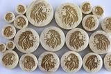 Wood Lion plugs - laser cut wood lion gauge plugs (Pair) - PC02
