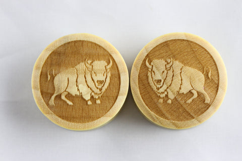 Wood Buffalo plugs - laser cut wood bison gauge plugs (Pair) - PC04