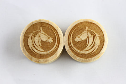 Wood Stallion plugs - laser cut wood horse plugs (Pair) - PC05
