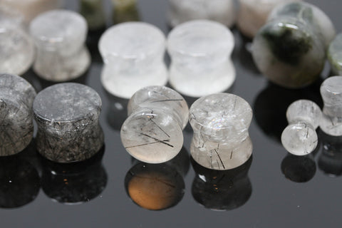 Tourmalated Quartz Plugs - Healing Plugs (Pair) - PH64