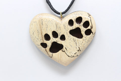 Heart Hand Carved Pet Love Necklace - S064