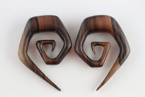Carved Wood Stretched Ear Spirals (Pair) - D009