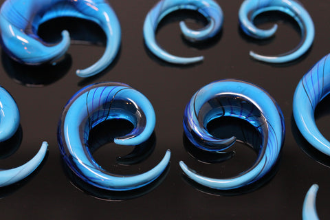Blue Glass Spirals (Pair) - H026
