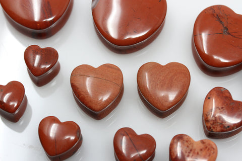 Red Jasper Heart Shaped Plugs (Pair) - PH01