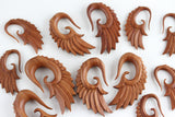 Wing Plug Hangers - Hand Carved Wood Wings (Pair) - A004