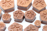 Lucky Stars Wooden Pentagon Plugs - Hand Carved - (Pair) - PA95
