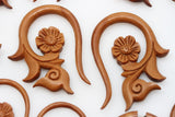 Forget Me Not Wood Hangers - Carved Hangers (Pair) - A075
