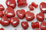 Red Jade Heart Shaped Plugs (Pair) - PH62