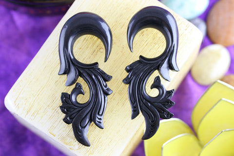Black Stretched Plug Ear Hangers