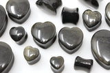 Gold Obsidian Heart Shaped Plugs  (Pair) - PH63