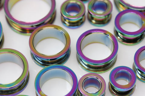 Iridescent Stainless Steel Tunnels - Screw on Tunnel (Pair) - PSS20