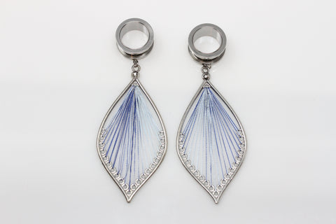 Stainless Steel Blue Flame Dangler - Screw on Tunnels (Pair) - PSS25