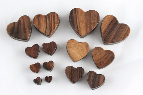 Wood Heart Plugs - Carved Heart Gauges (Pair) - PA43