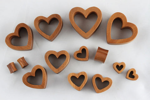 wooden heart tunnel plugs