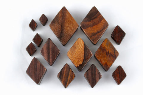 Diamond Plugs for Stretched Ears - Hand Carved Wood (Pair) - PA48