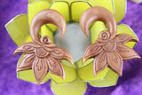 Lady Bud Hand Carved Wood Hanging Plugs