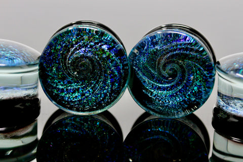 Blue Cyclone Glass Plugs for stretched ears (Pair) - G027